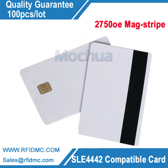 ISO7816 Contact SLE 4442 Chip with Hi-Co Mag-stripe PVC Smart IC Card evolis avansia duplex expert mag iso