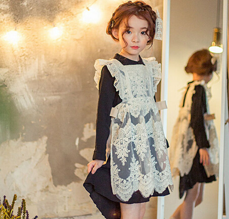2016 New Spring Autumn Long Sleeve Children Lace Dress Little Girls Black with Blouse Kids Two Piece