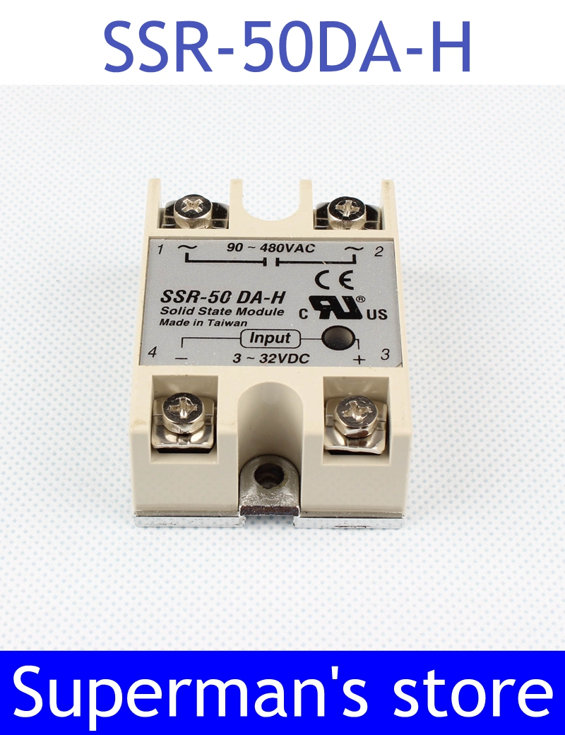 цена на 1pcs solid state relay SSR-50DA-H 50A 80 ~ 250 V DC TO 90 - 480 V AC SSR 50DA H relay solid state Regulator