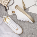 Women Loafers Microfiber Platform Shoes Woman Creepers Autumn Flats Casual Lace-Up Gold Silver White Women Brogue Shoes