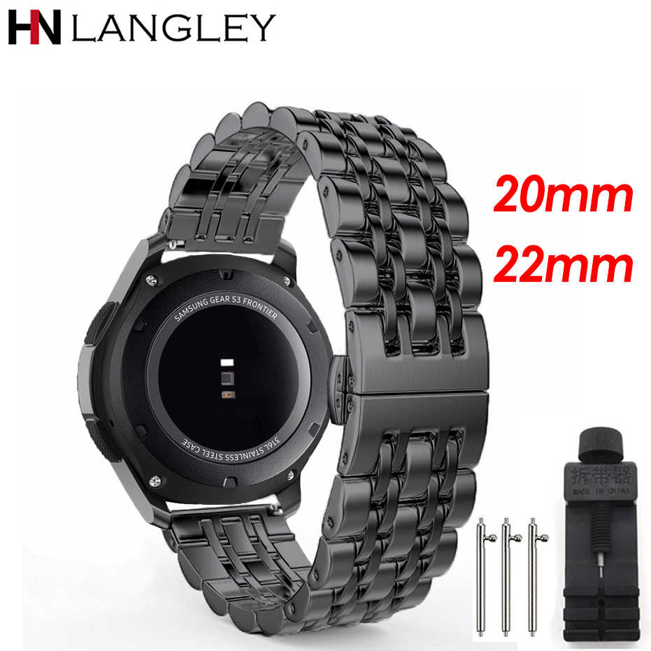 20/22 MM Stainless Steel Watch Band for Samsung Galaxy Watch 42mm 46MM Wristband Replacement for Gear S2 S3 Classic/Frontier