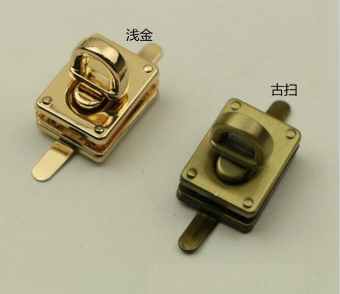 (10 Pieces/lot) Factory Wholesale Bags Handbags Metal 2 Color Square Twist Lock Decorative Buckle Hardware Accessories
