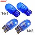 Hippcron T20 W21W 582 7440 T20 W21/5W 580 7443 натуральное голубое стекло 12V 21W 21/5W супер белая Автомобильная сигнальная лампа автомобильная лампа (2 шт.)