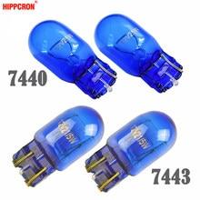 Hippcron vidro azul, t20 w21w 582 7440 t20 w21/5w 580 7443 natural vidro 12v 21w 21/5w super branco lâmpada do sinal do carro (2 peças)