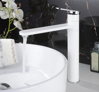 Free shipping Chrome or white color Finish Extended Basin Faucet 360 Degree Rotate Single handle Basin Mixer BF001