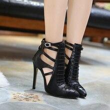 Autumn Spring Big Size Pumps Women's Shoes With Heels Ankle strap Pumps 2017 European Hollow Ladies Party shoes For Women Black
