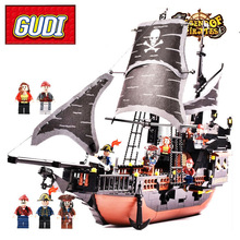 Gudi Пираты Карибского моря черный жемчуг корабль-призрак большие модели Блоки Образовательные Кирпичи подарок на день рождения Игрушка совместима Legoe