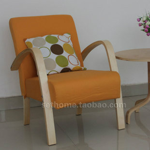 Nordic Wood Armchairs Fabric / Conference Chair / Coffee Chair / Balcony  Chair / Recliner /