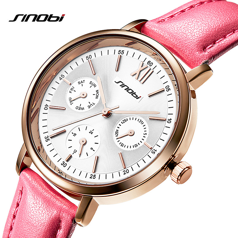 New 2017 Sinobi Ladies Watches Luxury Brand Women Watches Cute Pink Leather Band Quartz Wrist Watches for Women Hodinky стоимость