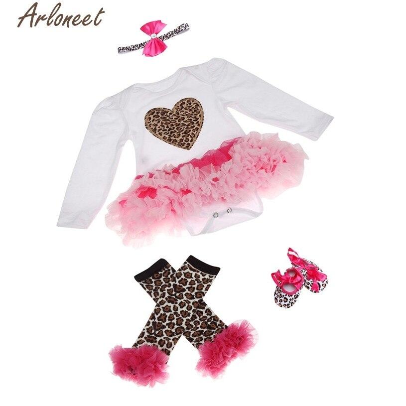 ARLONEET Christmas Pajamas Dress For Baby Girls Newborn Leopard Baby Girl Romper Tutu Dress Sets 4Pcs Outfits Clothes Bodysuit &
