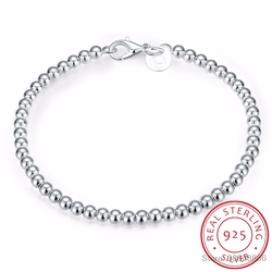 LEKANI 100% 925 Katı Gerçek Gümüş Moda 4mm Boncuk Zincir Bilezik 20 cm Genç Kızlar Için Bayan Hediye kadınlar Güzel Takı