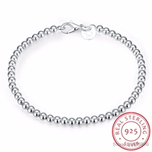 LEKANI 100 925 Solid Real Sterling Silver Fashion 4mm Beads Chain Bracelet 20cm For Teen Girls Lady Gift Women Fine Jewelry cheap Bracelets Zircon 925 Sterling Chain Link Bracelets GDTC Party 925 Sterling Silver Classic Animal CRYSTAL Look at pictures