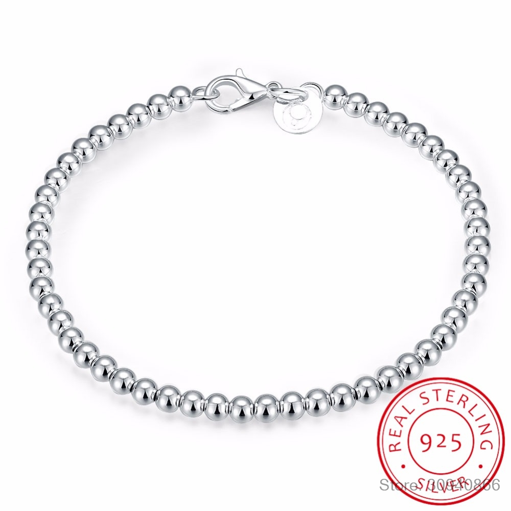 LEKANI 100% 925 Solid Real Sterling Silver Fashion 4mm Beads Chain Bracelet 20cm For Teen Girls Lady Gift Women Fine Jewelry(China)