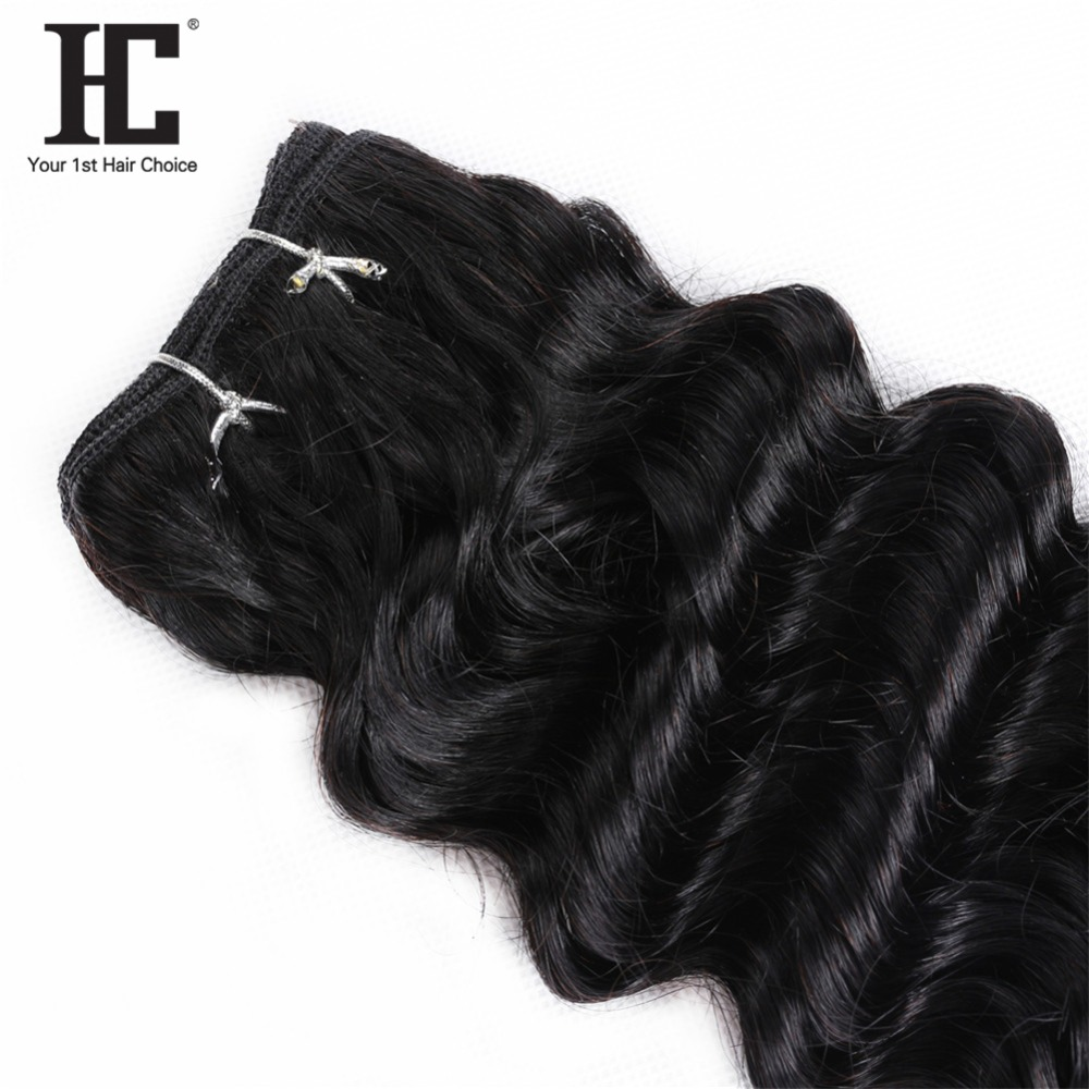 HC Brazilian Deep Wave 3 Bundles Human Hair With Lace Closure 4*4 Free Middle Three Part Natural Color Non Remy Hair Weave