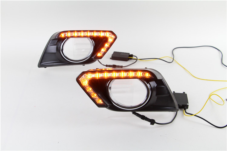 With Yellow Turning Function Car Accessories LED Daytime Running Light LED DRL For Nissan X-trail Xtrail 2014 2015 2016 brake car rear trunk security shield shade cargo cover for nissan x trail xtrail rogue 2014 2015 2016 2017 black beige