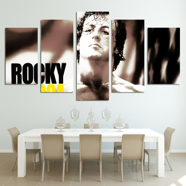 5 Panel Framed Rocky Balboa Boxing Stars HD Printed Wall Picture For ...