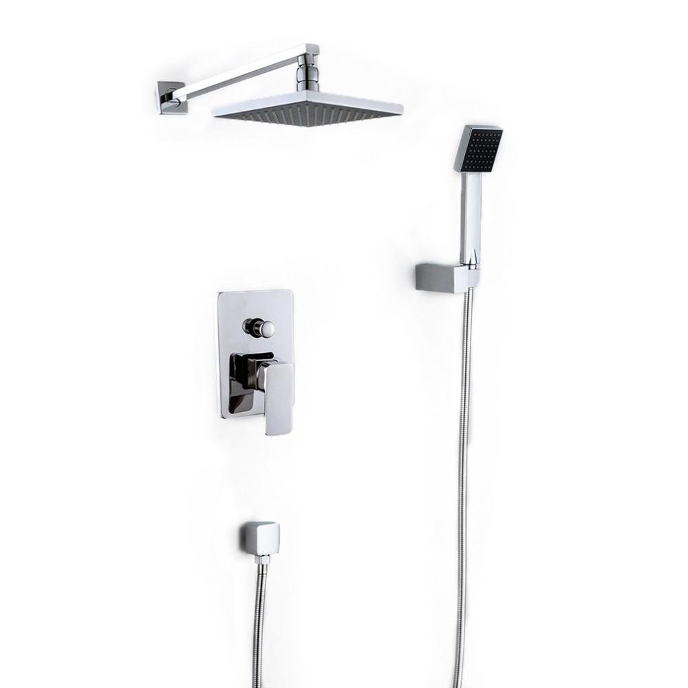 Wall Mounted Rainfall Shower Head Arm Control Valve Handspray Faucet Set Bathroom High Pressure Shower Set