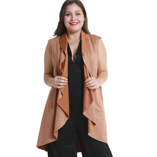 Sleeveless irregular cardigan jacket with long shoulder deer velvet and large size womens wear women