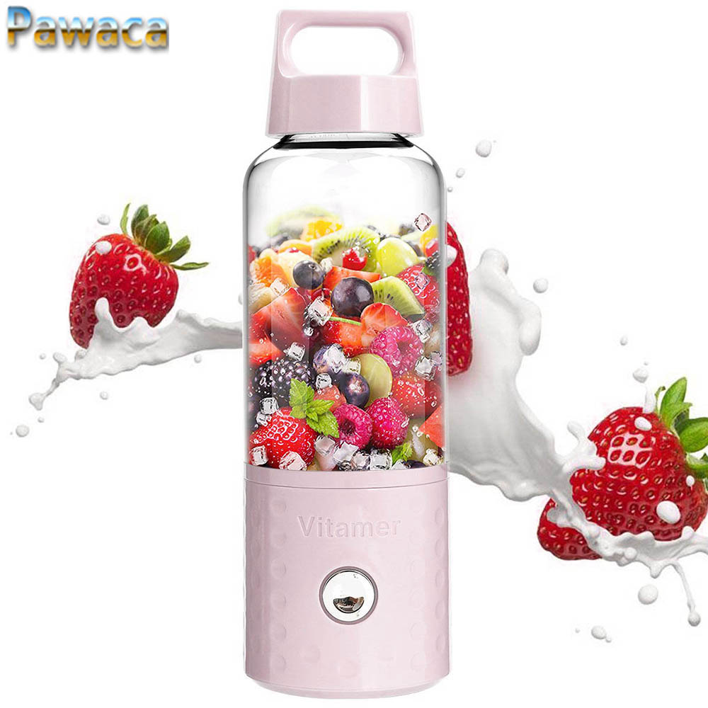 500 ml Elektrische Obst Entsafter Maschine Orangenpressen Tasse Smoothie Maker Mixer Schütteln Saft Reibahlen Flasche Tragbare USB Aufladbare