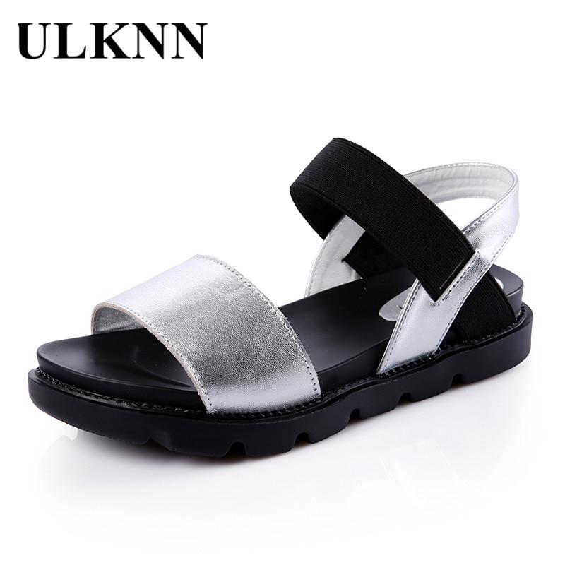 ULKNN Roman Casual Sandals For Girls Genuine Leather Summer Fashion Shoes Kids Girls Sandals Footwear Gladiator sandalias mujer