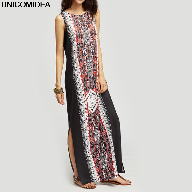 Women Long Dress 2017 Sexy Sleeveless O Neck Split Vintage Ethnic Dress Robe Longue Casual Loose Club Party Maxi Dress Vestidos