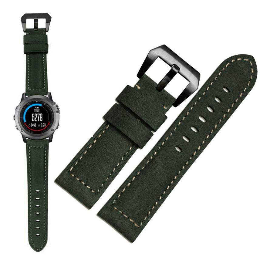 Superior Genuine Leather Watch Replacement Band Strap + Lugs Adapters For Garmin Fenix 3 / HR July 5 jansin 22mm watchband for garmin fenix 5 easy fit silicone replacement band sports silicone wristband for forerunner 935 gps