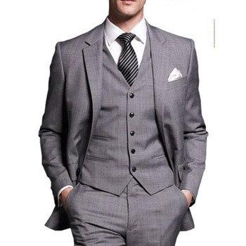 Gray Gentlemen Tuxedos Notched Lapel Wedding Suits For Men Two Buttons 3 Pieces Men Suits Slim Fit (Jacket+Pants+Vest)