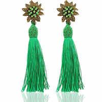 Nowe długie kolczyki z frędzlami dla kobiet moda zielona jedwabna kolor kwiat inkrustowane dynda kolczyk Brincos Pendiente biżuteria hurtowych R4