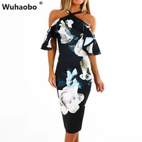 de4776997b Wuhaobo Sexy Summer Bodycon Flower Ruffle Dress Women Boho Navy Blue Dresses  Women Spaghetti Strap Backless