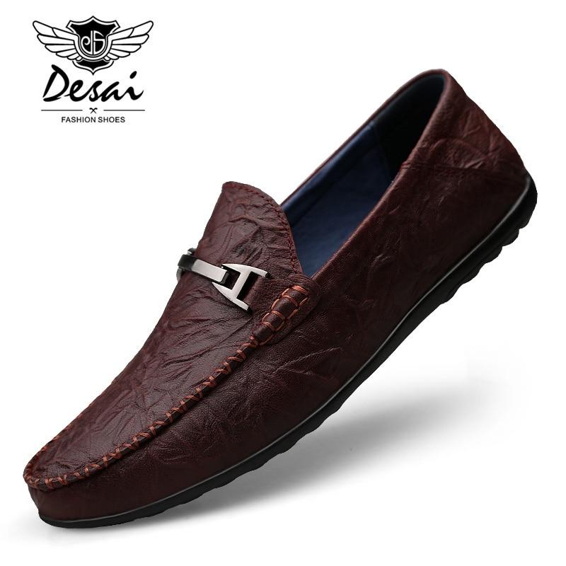 Mocasines de hombre de cuero genuino de talla grande 37 ~ 46 zapatos planos de cuero suave de gran calidad Oxfords zapatos de conducción Casuales-in Mocasines from zapatos    1
