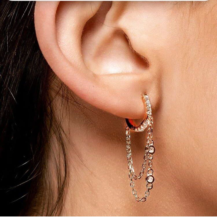 Gold filled 925 sterling silver tassell chain cz hoop earring elegance women gift jewelry with round cz link chain elegant style