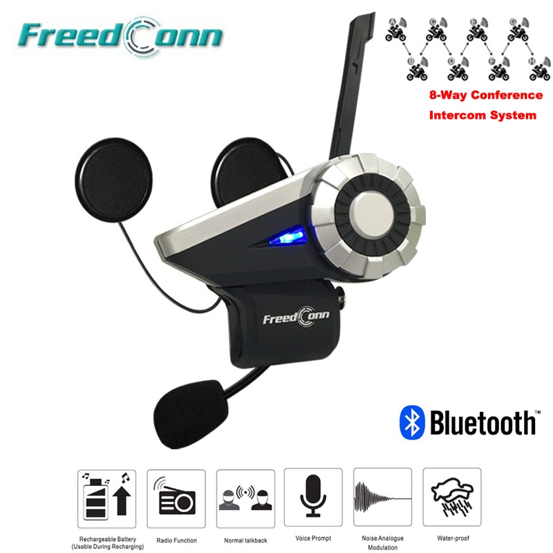 Freedconn 1500M 8-Way Full Duplex Motorcycle Group Talk System BT Interphone FM Radio T-Rex Bluetooth Helmet Intercom Headset