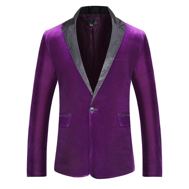 Purple Velvet Slim Fit Tuxedo Suit Blazer Men Brand One Button Notched Lapel Mens Jackets Blazers Wedding Party Costume Homme