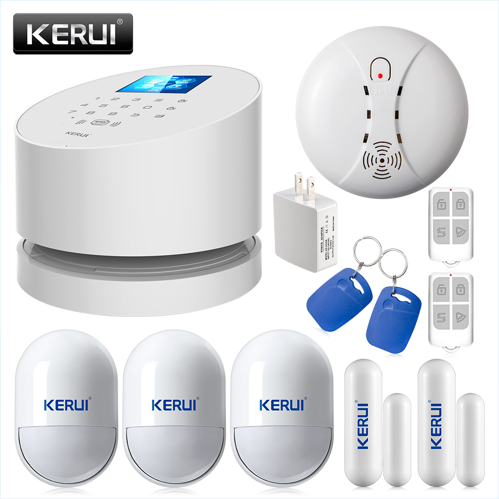 KERUI W2 WIFI NETWORK alarm IOS Android APP remote control WiFi GSM PSTN Burglar Home Security Alarm System kerui w2 wifi gsm home burglar security alarm system ios android app control used with ip camera pir detector door sensor
