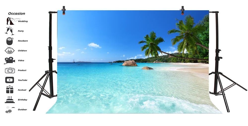 Laeacco Sea Beach Palm Tree Scenic Photographic Backgrounds Customized Photography Backdrops For Photo Studio