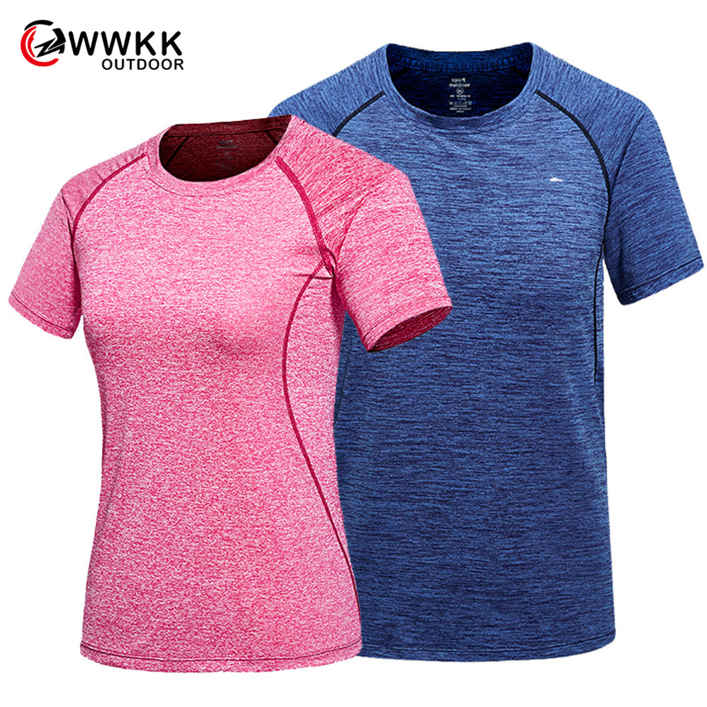 WWKK/Однотонная футболка для пары; летняя дышащая футболка с короткими рукавами для альпинизма; повседневные футболки; футболки для пеших про...