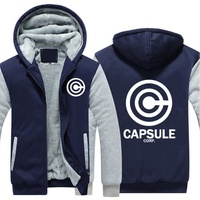Mens Cotton Men Hoodies Winter Anime Dragon Ball Z Capsule Corp. Dbz Cashmere Thick Coat Warm Sweatshirts