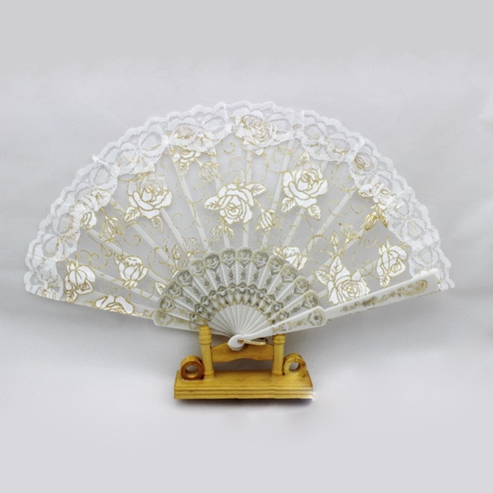 1pcs Hand lace Fans Pocket Folding Bamboo Fan Party Wedding event ...