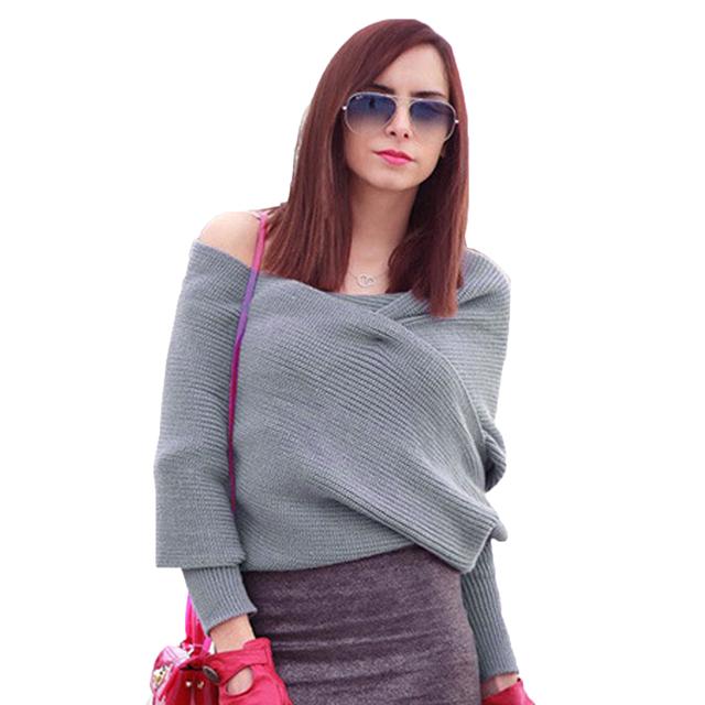 Otoño 2016 Mujeres de Moda Suéter Jumper Marca Gris Fuera del Hombro de la Manga Del Batwing de Punto Suéter de Punto Casual Cardigan Crop $ K