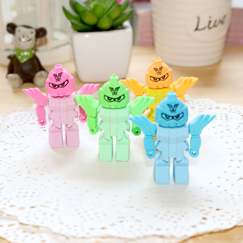 1 Pcs JWHCJ Creative Armor Robot Rubber Eraser Kawaii Creative Stationery School Supplies Papelaria Gifts For Kids