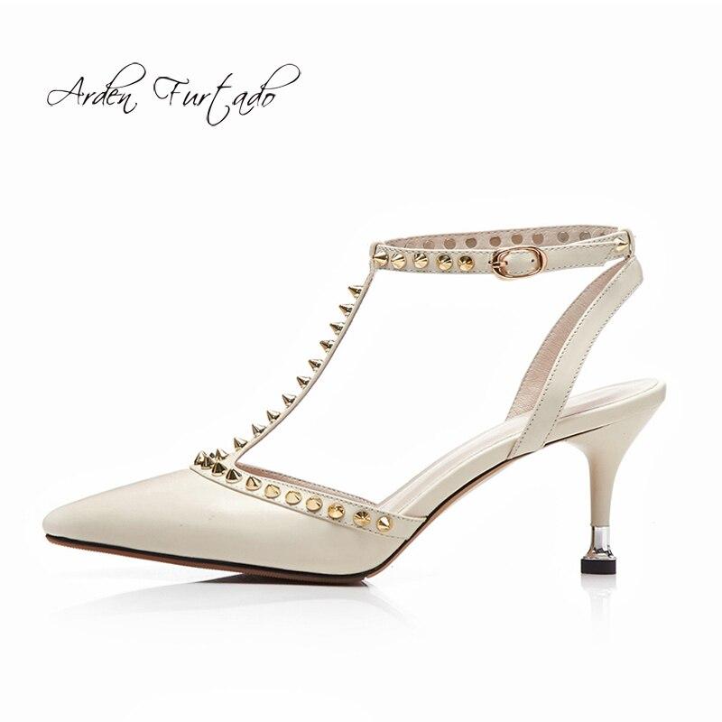 Mode Stilettos Pointu Dame Furtado 2018 Chaussures Cm Élégante 9 En Rivets Bout Arden T Talons Haute black sangle D'été Beige Sandales Cuir Véritable 0OnwZ8XPNk