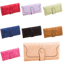 2016 Trendy Nubuck leather wallet women coin purse bag female clutch bag dollar price long wallets carteira 88 WML99