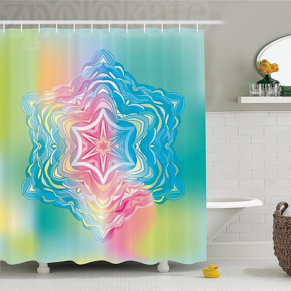Mandala Decor Shower Curtain Psychedelic Liquid Layered Digital Ethnic Floral Icon In Soft Illustration Bathroom Set With