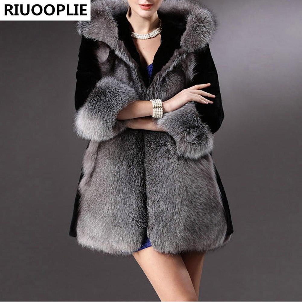 Femmes Luxe De Vison Imitation Veste Faux Avec Fourrure Long Manteau Riuooplie Chapeau Gris Noir P1IwxZq4Eq