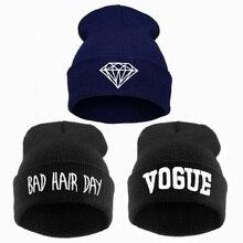 vogue diamond bad hair day knit bonnet winter hat beanies for men women,femme skullies,gorros de lana hombre mujer invierno