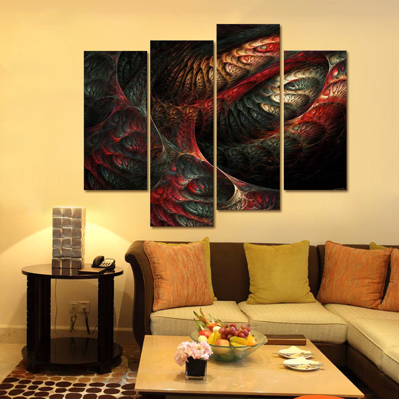 Fractal Abstract Red Yellow Light Blue Wall Art Painting Pictures ...