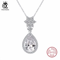 ORSA JEWELS Water Drop Necklace Silver Sterling Solid Pendant With Chain Clear CZ Shiny Wedding Party