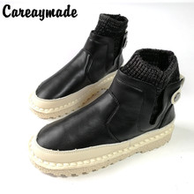 Careaymade-New hand crafted short boots, soft bottom comfortable flat bottom and ankle boots,the retro art mori girl Flats boots