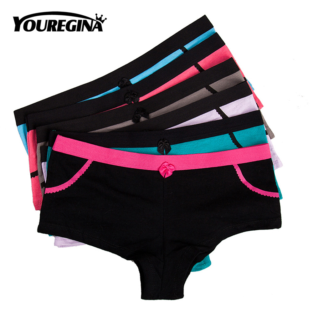 YOUREGINA Cotton Panties Women's Boyshort Ladies Underwear Female Patchwork Breathable Shorts Low Waist Boxers 6pcs/lot M L XL