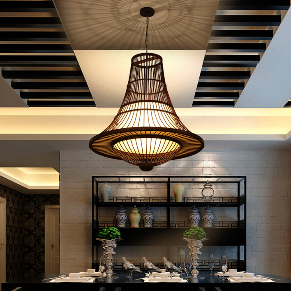 Southeast Asian pendant lights new Chinese style bamboo light creative tea house clubhouse living room dining room lamp LO72613 tradition design wooden southeast asia chinese style bamboo pendant lamp for restaurant veneer dining room master room lights